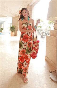 Floral Printed Halter Bandeau Maxi Dress