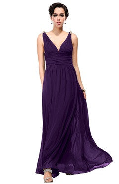 Plunge V Neck Waistband Chiffon Maxi Dress