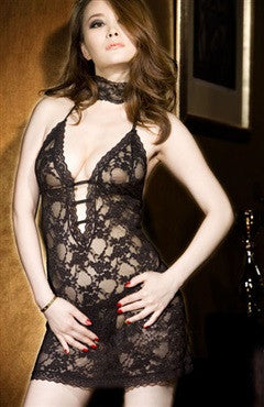 Black Sets Chemise/Slip Lace Sexy Lingeries