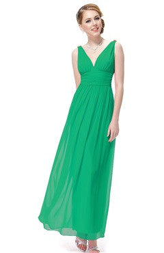 Green V-Back Ruched Bust & Waistband Chiffon Dress
