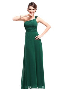 Green One Shoulder Ruched Bust Dress With Bow Detail