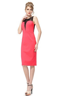 Sleeveless Lacey Coral Sheath Cocktail Dress