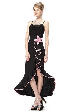 Black Spaghetti Straps Pleated Bust Flower Hi-Lo Party Dress