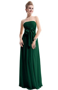Emerald Green Strapless Ruched Bust Chiffon Dress With Bow Sash