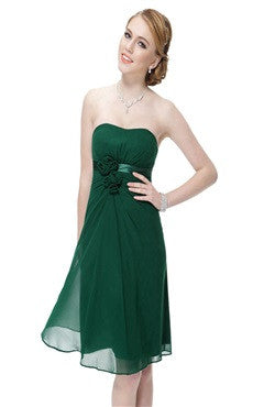 Front Gathered A-line Dress In Forest Green