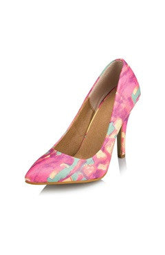 Water Color Pointed High Heels