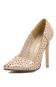 Nude Cutouts PU Leather High Heels