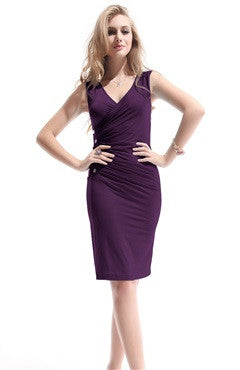 Side Buttons Detailed Ruching Bodycon Dress