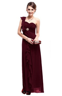 Burgandy One Shoulder Ruched Bust Frill Detail Dress