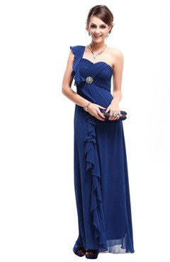 Blue One Shoulder Ruched Bust Frill Detail Dress
