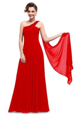 Red A Line Ruched Bust Streamer Long Party Dress