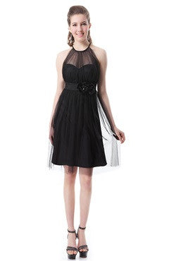 Black Illusion Neckline Rosettes Embellished Ruched Cocktail Dress