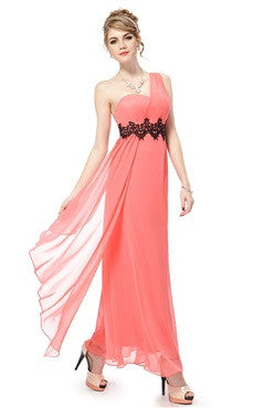Coral One Shoulder Black Lace And Rhinestones Belted Party Dress