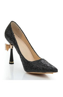 Black Cone Heel Glitter Pointed Pump Shoes With Bow
