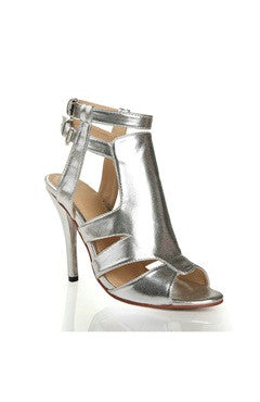 Double Ankle Strap Wide T Bar Shimmer Sandals