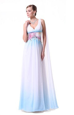 V Neck Rhinestones Embellished Empire Waist Streamer Bridesmaid Dress