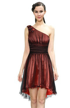 Beading One-Shoulder Ruched Waistband Dress With Organza Overskirt