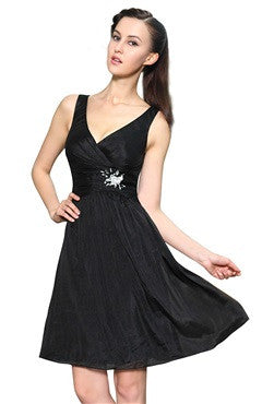 A-Line Black V-Neck Chiffon Dress With Beading Detail