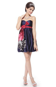 Sweetheart Bow Floral Printed Satin Short Homecoming Dress