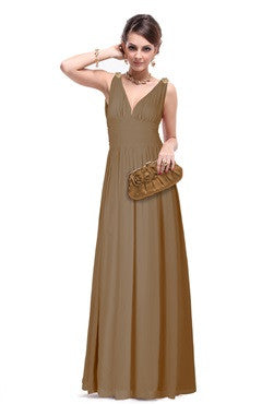 Apricot V-Back Ruched Bust & Waistband Chiffon Dress