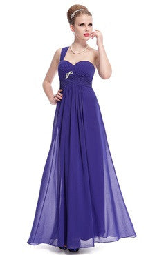 One Shoulder Sweetheart Neckline Ruched Waist Rhinestones Evening Dress