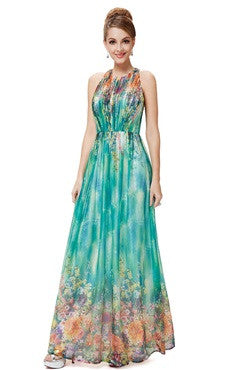 Floral Print Halter Maxi Beach Party Dress