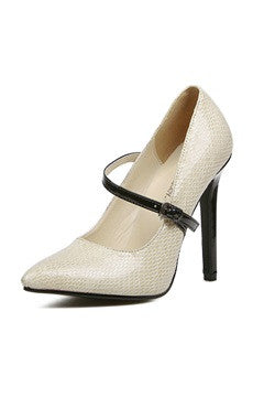 Point Toe Contrast Strap Faux High Heel Mary Jane Shoes