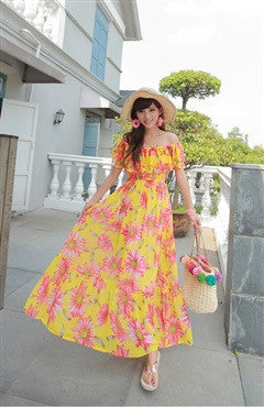 Chrysanthemum Printed Off-the-Shoulder Ruffles Maxi Dress