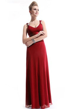 Embellished Scoop Chiffon Bridesmaid Dress, Red