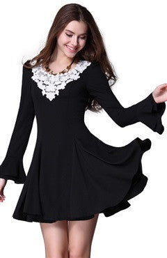 Black Long Bell Sleeves Vintage Short Satin Dress