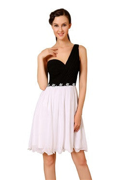 Black And White One Shoulder Rhinestones Decorated Homecoming Dress