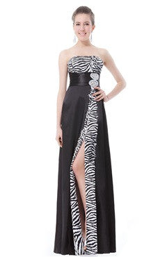 Elegant Strapless Zebra Print Split Evening Dress