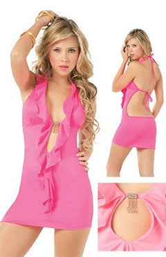 Pink Halter Backless Front Cutout Sexy Lingerie Sets
