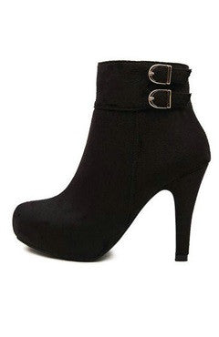 Black Flannelette Stiletto Ankle Boots