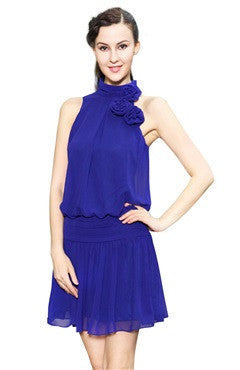Blue High Neck Chiffon Short Dress With Corsage