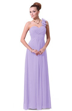 Lavender Ruched Bust Floral Shoulder Chiffon Dress