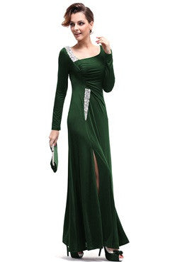 Hunter Green Sequins Long Sleeves Ruching Slit Party Dress