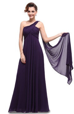Dark Purple A Line One Shoulder Long Party Dress