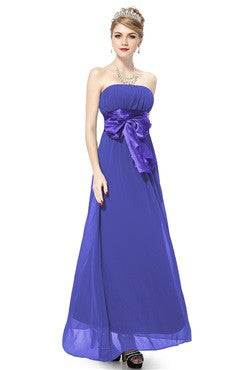 Sapphire Blue Satin Ribbon Bow Ruched Bridesmaid Dress