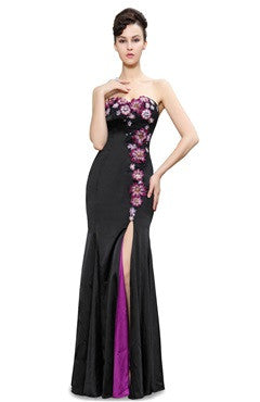 Floral Applique Embellishment Sweetheart Evening Dress