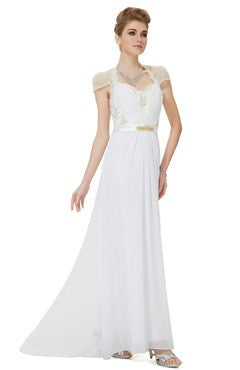 Capped Cutback With Sequins Applique Chiffon White Dress