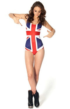 British Print One Piece Swimsuit