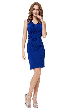 Sapphire Blue V Neck Side Buttons Detailed Ruched Cocktail Dress
