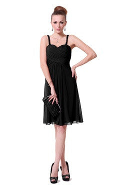 Spaghetti Straps Shirred Bust Sweetheart Black Cocktail Dress
