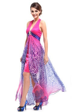 Hot Pink Deep V Neck Halter Open Back Party Dress