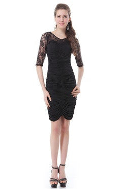 Black Ruched Lace Panel Half Sleeves Sheath Dress