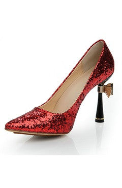 Cone Heel Glitter Pointed Pump Shoes With Bow