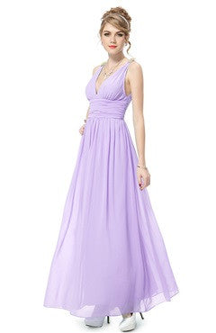 Purple V-Back Ruched Bust & Waistband Chiffon Dress