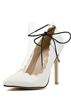 Ankle Strap White Pointed Stiletto High Heels