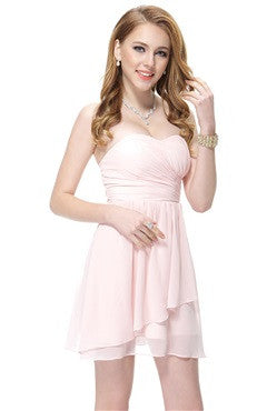 Sweetheart Pink Ruffles Short Chiffon Bridesmaid Dress